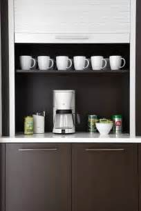 Contemporary kitchen coffee station with espresso veneer cabinets
