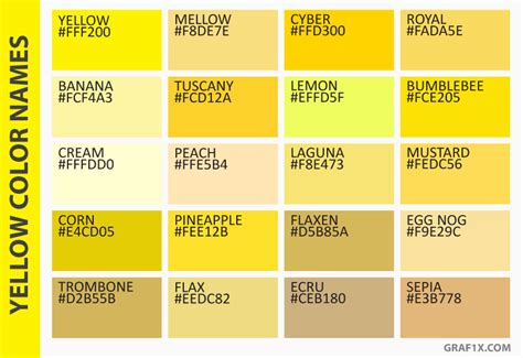 shades of yellow names list of colors with color names graf1x com