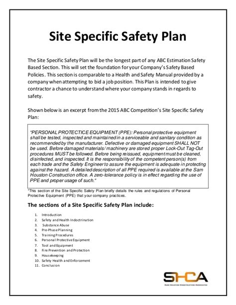 site specific safety plan template safety based estimation