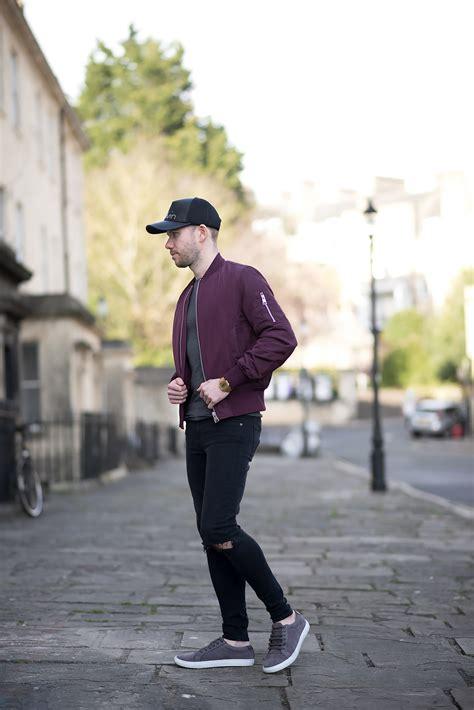 calvin klein baseball cap  burgundy bomber jacket