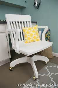 White dove paint give this wooden swivel office chair a new lease on