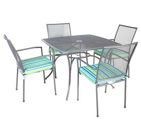Metal Patio Table And Chairs Set Charles Bentley Outdoor Metal Mesh 5 Table And Chairs Grey Furniture Set 163 129 99