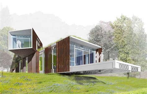 Home Design Competition Shows by Hanging House Made From Bay Bridge Scraps Wins