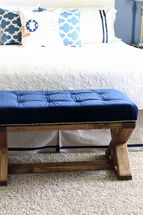 tufted bench diy diy 2x4 upholstered farmhouse style bench frazzled joy