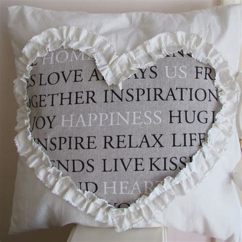 ruffled heart cushion pillow cover shabby chic cottage