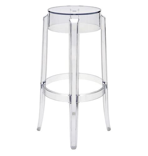 2 x ghost style clear color bar stool