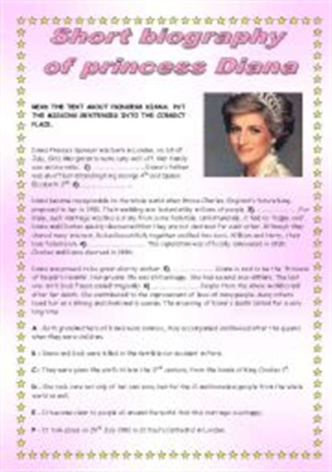 lady diana biography en ingles english exercises princess dianas biography