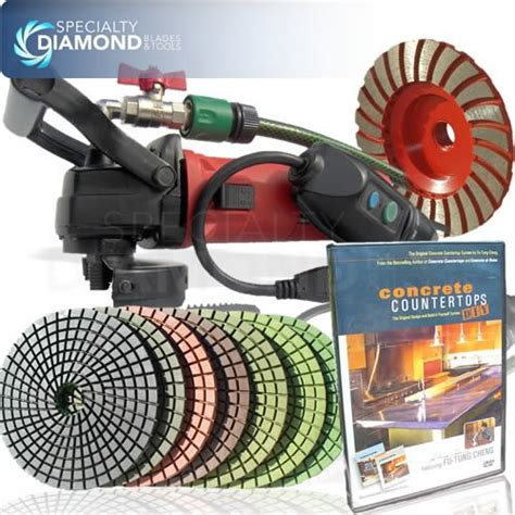 Concrete Countertop Polishing Kit by Secco Ccgrinpolset 5 Inch Variable Speed Concrete