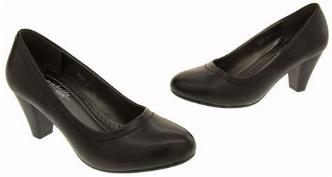 womens mid heel black court shoes smart work heels