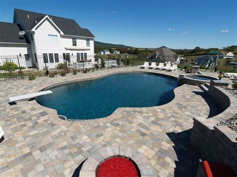 built in firepit built in firepit and tub with waterfall fronheiser pools