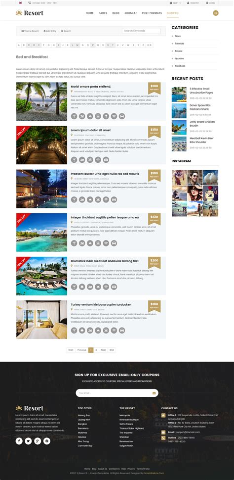 hotel theme joomla 3 resort ii ultimate responsive hotel resort joomla