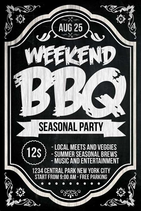 Chalkboard Bbq Flyer Template Psd Download Xtremeflyers Bbq Flyer Template Free