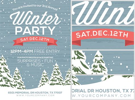Rustic Winter Flyer Template Flyerheroes Rustic Flyer Template
