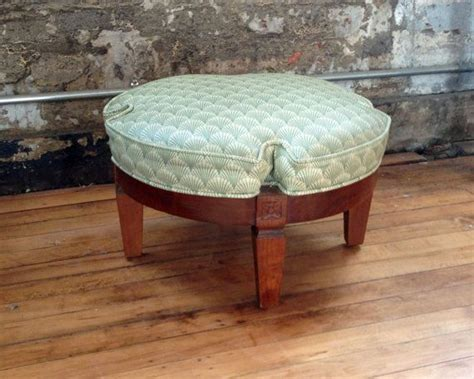 Headache And Stools by Vintage Wooden Footstool With Deco Oilcloth