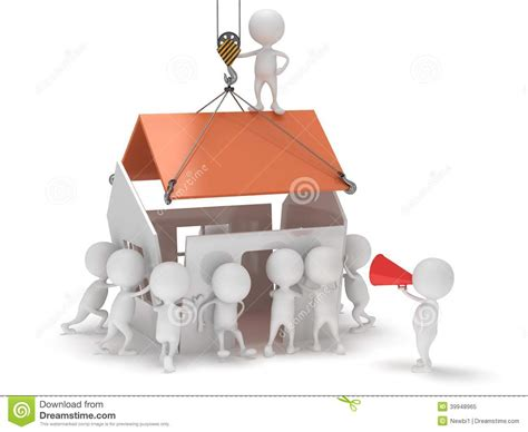 Build A 3d House 3d people build a house stock illustration image 39948965