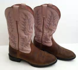 ariat brown and pink western cowboy boots sz