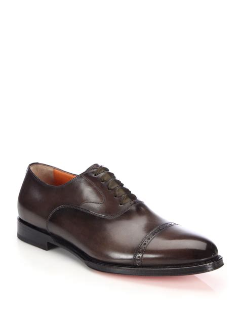 santoni oxford shoes santoni burnished leather cap toe oxfords in brown for