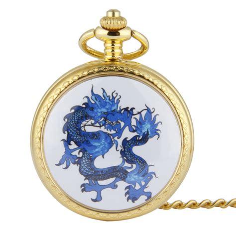 gold pattern style watch fashion classic men big gold pocket watch drip dragon