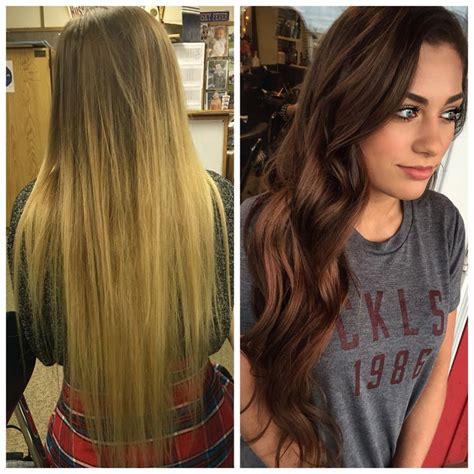 brown hair to blonde hair transformations before and after blonde to brunette hair braneebear