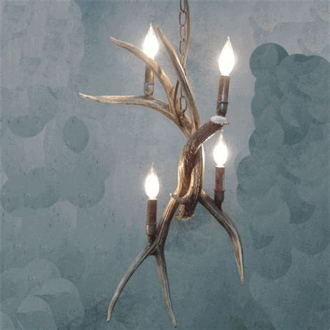 peak pendant mule deer antler chandelier 4 light