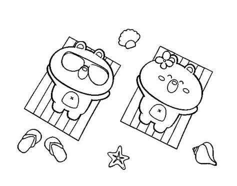 imagenes de ositos kawaii para colorear dibujo de ositos tomando el sol para colorear dibujos net
