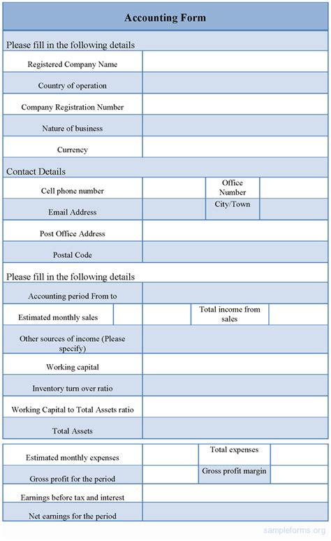 accounting form sle accounting form sle forms