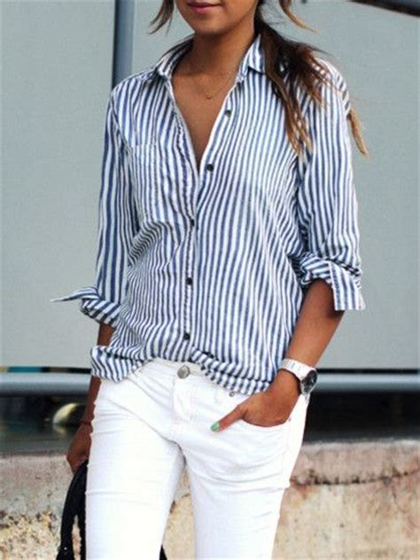 Blue Stripe S M L Blouse 26331 17 best images about fashion on striped shirts