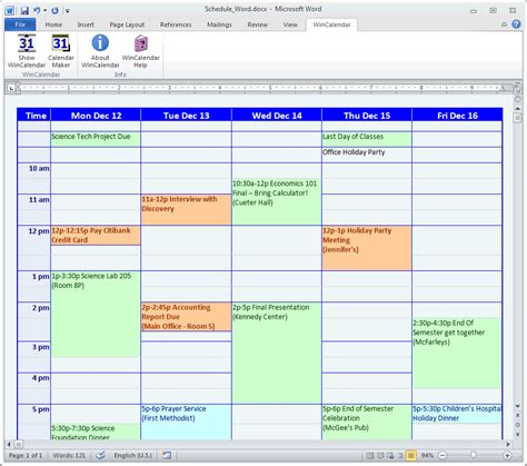 Calendar Maker Calendar Creator For Word And Excel Creating A Work Schedule Template