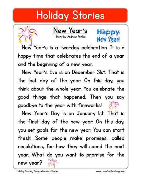 new year picture story reading comprehension worksheets