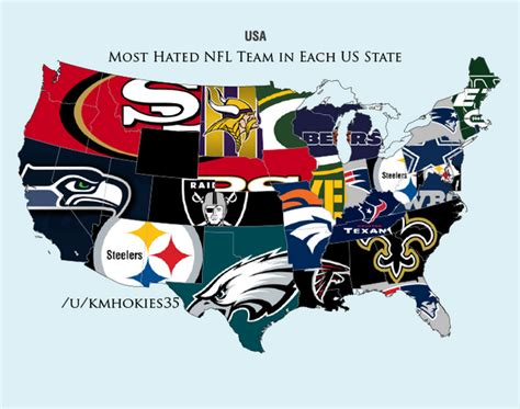 what nfl team has the most fans nationwide most hated nfl teams by state