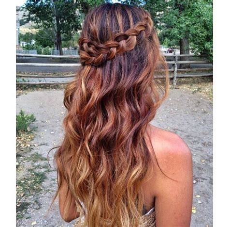 braided hairstyles with a patch of color pancake braid with curls dance hairstyles pinterest