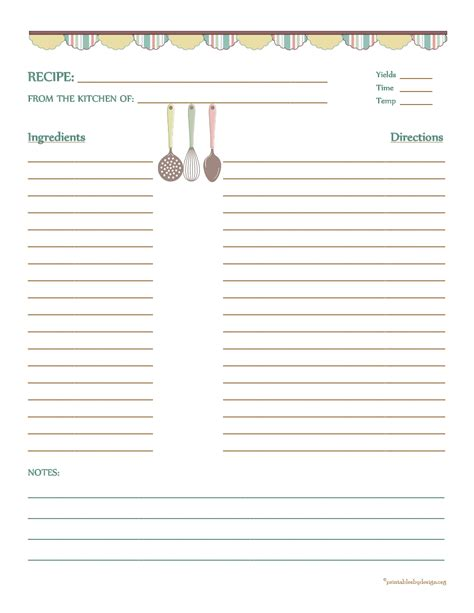 recipe templates for pages recipes card printables free printables
