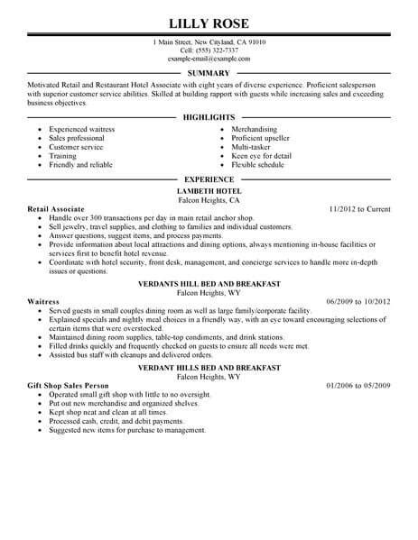 hotel industry resume restaurant best retail and restaurant associate resume exle livecareer