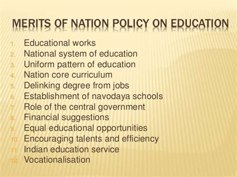 national pattern works thane national policy on education