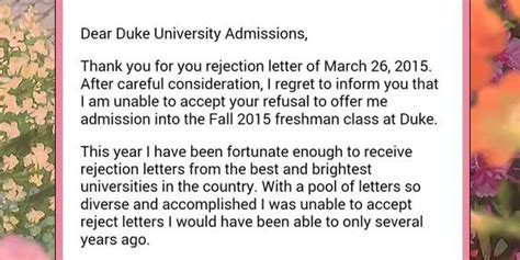 Rejection Letter Duke turns the tables on college admissions and