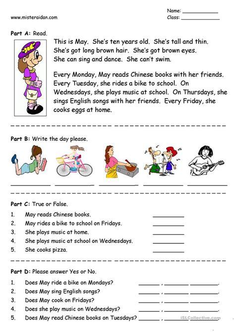 days of the week simple reading comprehension worksheet