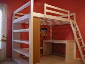 white wood loft bed  desk foter