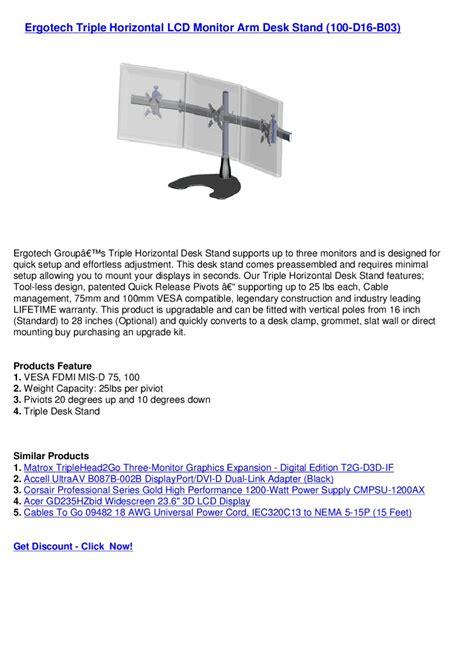 ergotech horizontal lcd monitor arm desk stand 100