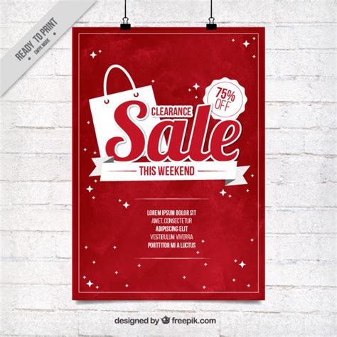 red sale poster template vector free download