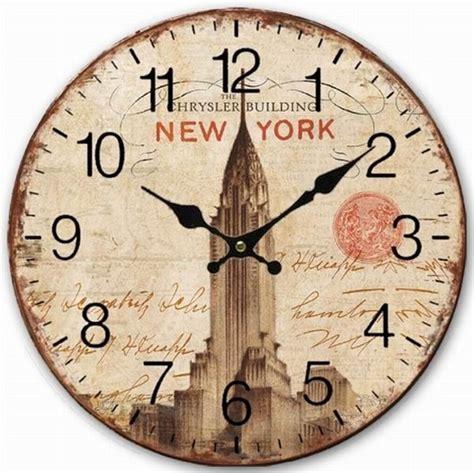 Decorative Wall Clock Retro Vintage New York Chrysler Building Shabby Home Decor