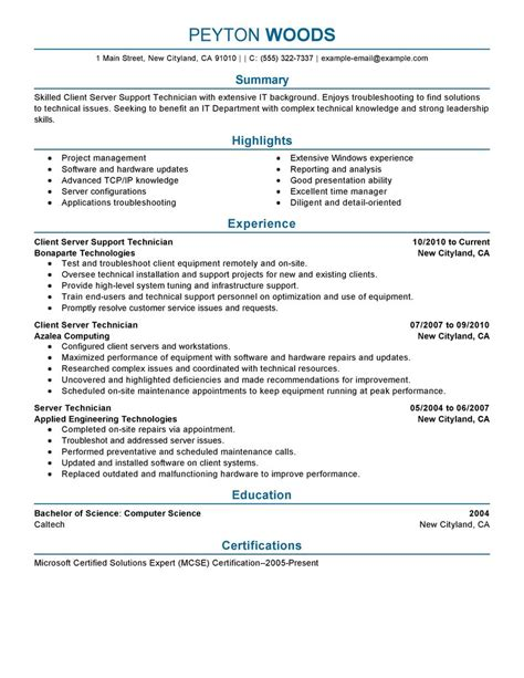 client server technician resume exles it resume sles livecareer