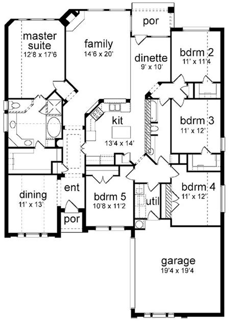 One Story Five Bedroom House Plans by Floor Plan 5 Bedrooms Single Story Five Bedroom New