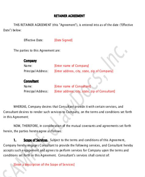 consulting fee agreement template 9 sle consulting retainer agreements sle templates