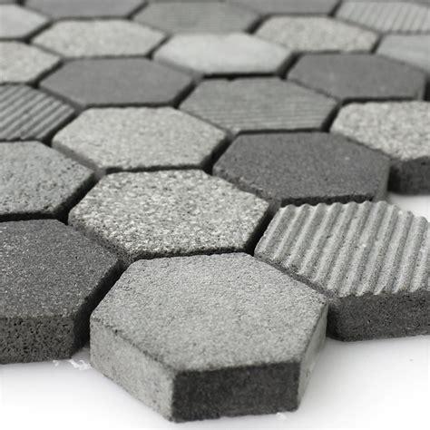 hexagon badezimmerboden fliese naturstein hexagon sechseck mosaik fliese notte anthrazit