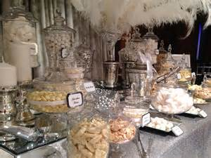 wedding candy buffet in silver and white candy buffets l sweetie tables l dessert tables l
