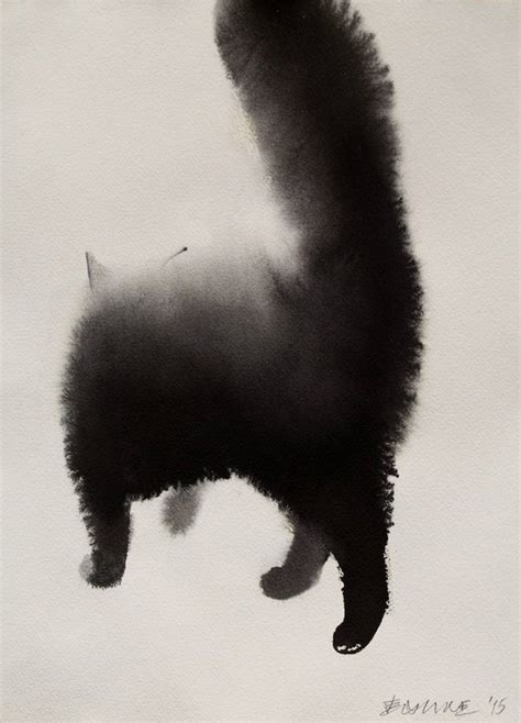 striking watercolor paintings  mysterious cats blending