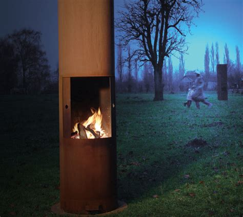 zeno outdoor fireplaces are made of corten steel and ideal