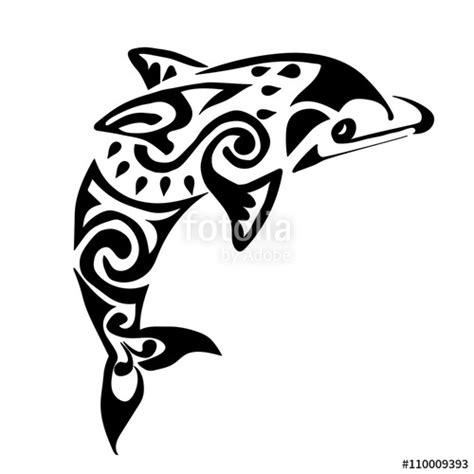 quot black dolphin tattoo polynesia maori vector quot stock image