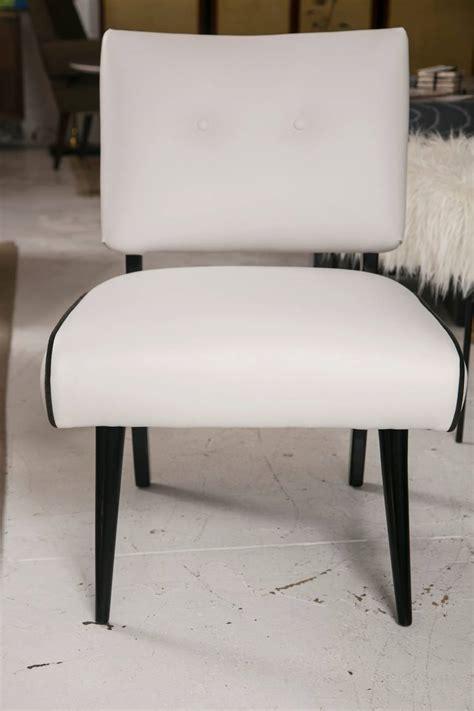 white slipper chairs mid century modern slipper lounge chair in white vinyl for