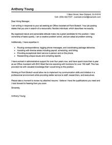 assistant cover letter exle best office assistant cover letter exles livecareer